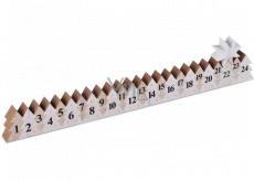Adventní kalendář dřevěný bílý s hvězdou 78 x 395 mm