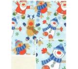 Nekupto Dárkový balicí papír 70 x 200 cm Vánoční Světle modrý sněhulák, santa, sob