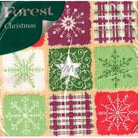 Forest Vánoční papírové ubrousky Vločky, káro, hvězdička 1 vrstvé 33 x 33 cm 20 kusů