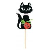 Zápich kočky černé z filcu bílá ouška 8 cm + špejle