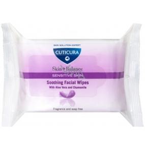 Cuticura Skin + Balance Aloe Vera a Heřmánek čistící pleťové ubrousky pro citlivou pleť 25 kusů