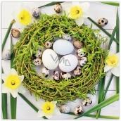 Aha Velikonoční papírové ubrousky zelený věneček, narcisy, tulipány 33 x 33 cm 3 vrstvé 20 kusů