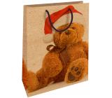 Nekupto Dárková kraftová taška 28 x 37 cm Vánoční s plyšovým medvědem 600 WKHL