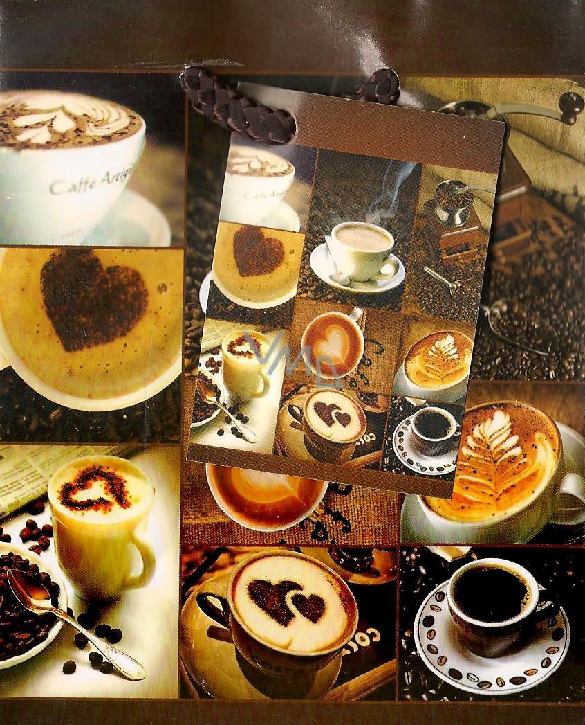 Nekupto Dárková papírová taška malá 14 x 11 x 6,5 cm káva a šálek 801 01 BS