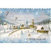Nekupto Pohlednice Veselé vánoce zoubky modrá, chaloupky a kostel