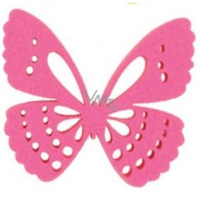 Dekorace motýl z filcu růžový 6 cm
