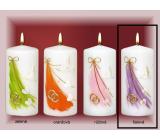 Lima Svatební svíčka bílá fialový motiv válec 60 x 120 mm 1 kus