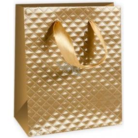 Ditipo Dárková papírová taška malá zlatá 11,4 x 6,4 x 14,6 cm DE