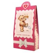 Bohemia Gifts & Cosmetics Krásné narozeniny méďa Pralinky z mléčné a hořké čokolády s náplní se smetanou a Irish whiskey 100 g