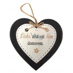Nekupto Mazlíčci Dřevěná cedulka Láska dělá náš dům domovem 12 x 12 cm