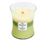 WoodWick Trilogy Garden Oasis - vonná svíčka s dřevěným knotem a víčkem sklo střední 275 g