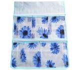 Kapsář do koupelny na zavěšení modrý 47 x 36 cm 5 kapes 713