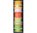 Nekupto Stuha látková zelená bílé proužky 3,5 m x 10 mm