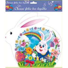 Room Decor Okenní fólie bez lepidla velikonoční bílý zajíc, zajíc s duhou 30 x 29 cm