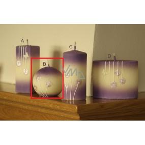 Lima Rozkvetlá louka svíčka světle fialová koule 80 mm 1 kus