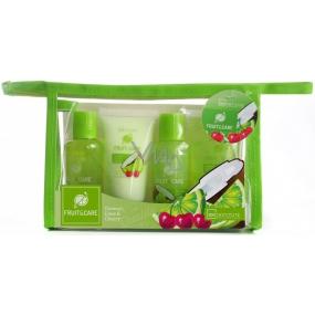 Idc Institute Fruit & Care Coconut, Lime & Cherry Cestovní set sprchový gel 70 ml + šampon 70 ml + tělové mléko 50 ml + peeling 50 ml + etue, kosmetická sada