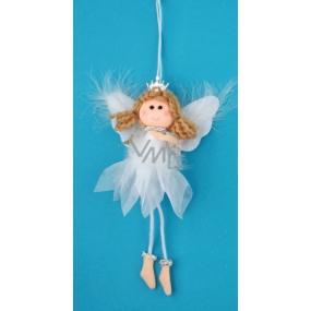 Anděl bílý s peřím, korunkou a vločkou na zavěšení č.1 19 cm