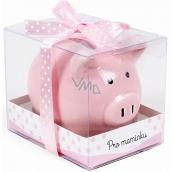 Albi Pokladnička prasátko malé Pro maminku růžová 7 cm × 6,5 cm × 7,3 cm