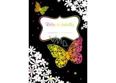 Ditipo Relax do kabelky Motýli a kytky kreativní zápisník 16 listů, formát A6 15 x 10,5 cm