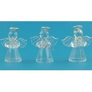Andělé ze skla se stříbrnou svatozáří sada 5 cm 3 kusy