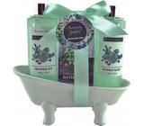 Salsa Collection Marakuja a Grep sprchový gel 140 ml + krémová pěna do koupele 140 ml + koupelová sůl 50 g, kosmetická sada v zelené vaničce