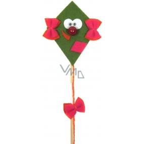 Dráček z filcu s pohyblivýma očima zelený 8 + 17 cm