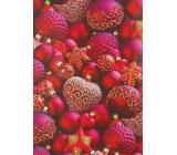 Ditipo Dárkový balicí papír 70 x 200 cm Vánoční červený červené baňky