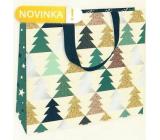 Nekupto Dárková papírová taška luxusní 30 x 23 cm Vánoční Stromečky WLFL