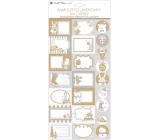 Jmenovky na dárky samolepicí s glitry bílo-šedé 18 x 40 cm 23 kusů