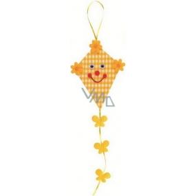 Dráček z látky na zavěšení žlutý 14 cm + ocásek 21 cm