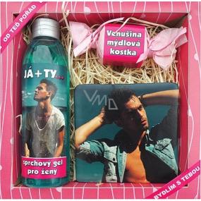 Bohemia Gifts & Cosmetics Pro ženy Já + Ty sprchový gel 200 ml + ručně vyráběné mýdlo 30 g + dekorační kachlík s potiskem 10 x 10 cm, kosmetická sada