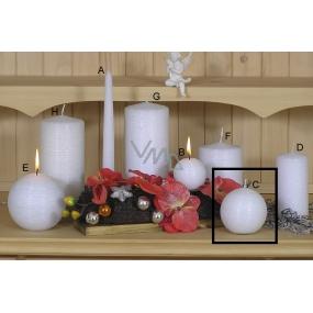 Lima Alfa Mrazivý efekt svíčka bílá koule 80 mm 1 kus