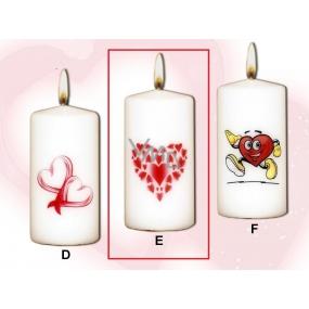 Lima Valentýnská svíčka 1 srdíčko svíčka s obtiskem bílá válec 50 x 100 mm 1 kus