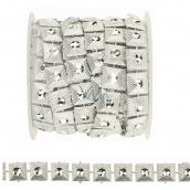 Řetěz se čtverci a kamínkem stříbrný 1,8 m