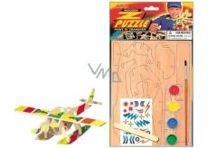 Dřevěné puzzle dopravní prostředky Letadlo 20 x 15 cm