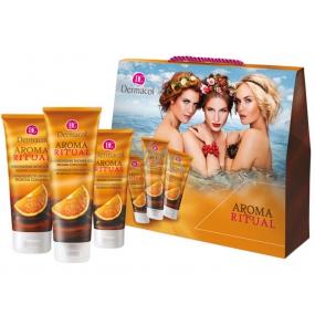 Dermacol Aroma Ritual Belgická čokoláda Harmonizující sprchový gel 250 ml + tělové mléko 200 ml + krém na ruce 100 ml, kosmeticka sada