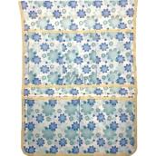 Kapsář do koupelny látkový závěsný modré a tyrkysové květy 43 x 31 cm 5 kapes 668