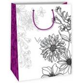 Ditipo Dárková papírová taška k vymalování střední bílá, květy 22 x 10 x 29 cm Kreativ 40