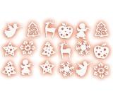 Dekorace z filcu bílé mix motivů 3 cm, 18 kusů