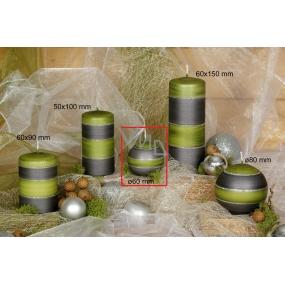 Lima Elegance Gray svíčka zelená koule 60 mm 1 kus
