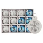Sada skleněných baněk bílých a modrých s vločkou 3cm, 12ks