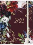 Albi Diář 2021 denní Bordó květy 17 x 12,6 x 2,4 cm