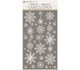 Samolepka vánoční bílá s glitry vločky 25 x 31 cm
