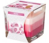 Bispol Rose - Růže tříbarevná vonná svíčka sklo, doba hoření 32 hodin 170 g