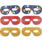 Brýlové škrabošky barevný potisk 6 kusů
