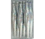 Baňky kapky stříbrné hologram 15 x 3 cm, 6 ks