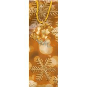 Nekupto Dárková papírová taška na láhev 743 01 WKLH oranžová s vločkami 33 x 10 x 9 cm