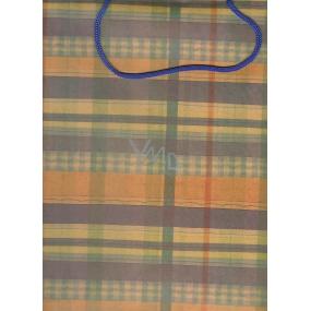 Nekupto Dárková papírová taška velká 341 KCL oranžovo-hnědé-zelené káro 36,5 x 28 x 10 cm