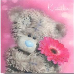 Albi Me To You Blahopřání do obálky 3D K svátku, medvídek s gerberou,15,5 x 15,5 cm
