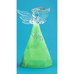 Anděl skleněný s barevnou sukní zelená 10 cm